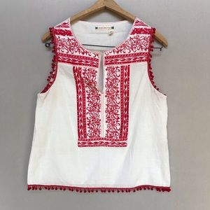 Chelsea & Violet Cream and Red Sleeveless Top